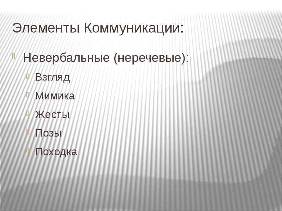 Элементы Коммуникации: Невербальные (неречевые): Взгляд Мимика Жесты Позы Пох...