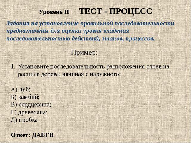 Уровень II ТЕСТ - ПРОЦЕСС Задания на установлениеправильной последовательнос...