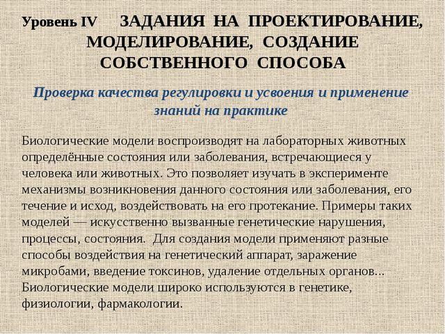 Уровень IV ЗАДАНИЯ НА ПРОЕКТИРОВАНИЕ, МОДЕЛИРОВАНИЕ, СОЗДАНИЕ СОБСТВЕННОГО СП...