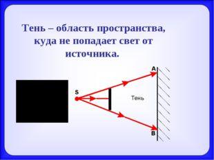 Тень – область пространства, куда не попадает свет от источника.