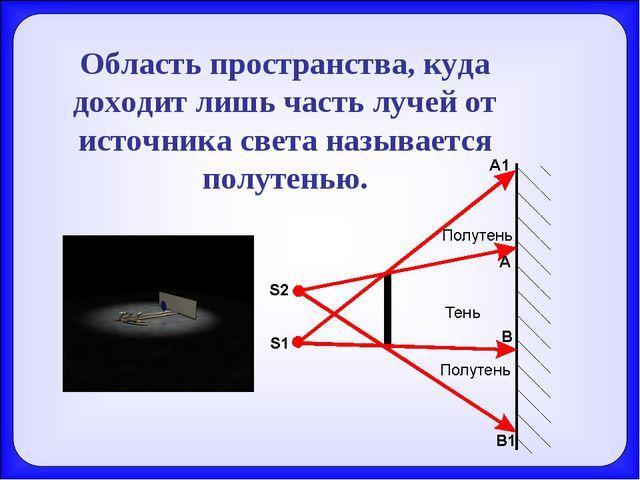 Область пространства, куда доходит лишь часть лучей от источника света называ...