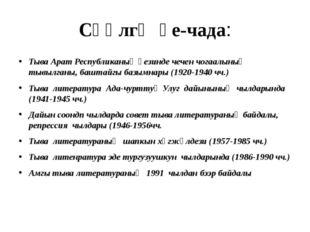Сөөлгү үе-чада: Тыва Арат Республиканың үезинде чечен чогаалының тывылганы, б