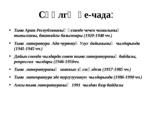 Сөөлгү үе-чада: Тыва Арат Республиканың үезинде чечен чогаалының тывылганы, б...