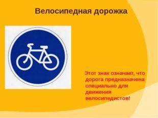 Этот знак означает, что дорога предназначена специально для движения велосип
