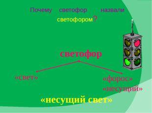 Почему светофор назвали светофором? «несущий свет» «свет» «форос» «несущий» с