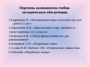 Перечень компонентов учебно-методического обеспечения. 1.Бодраченко И. «Музык