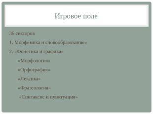 Игровое поле 36 секторов 1. Морфемика и словообразование» 2. «Фонетика и граф