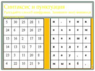 Синтаксис и пунктуация Разгадайте способ шифровки. Запишите получившееся пред