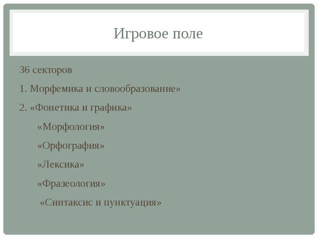 Игровое поле 36 секторов 1. Морфемика и словообразование» 2. «Фонетика и граф...