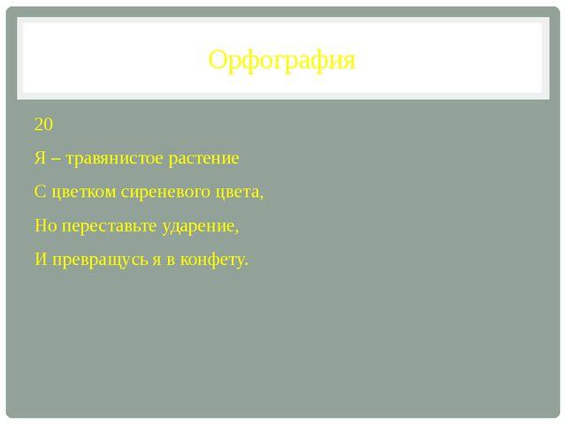 Орфография 20 Я – травянистое растение С цветком сиреневого цвета, Но переста...