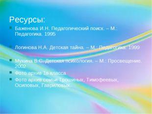 Ресурсы: Баженова И.Н. Педагогический поиск. – М.: Педагогика. 1995 Логинова