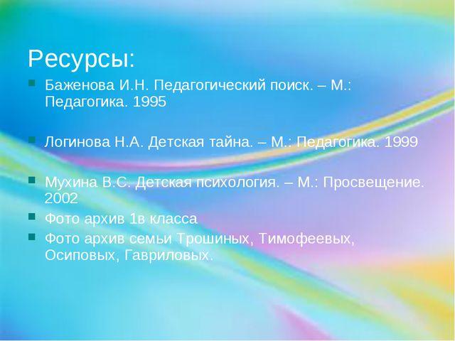 Ресурсы: Баженова И.Н. Педагогический поиск. – М.: Педагогика. 1995 Логинова...