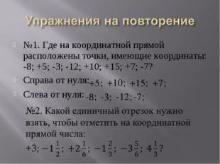 №1. Где на координатной прямой расположены точки, имеющие координаты: -8; +5;