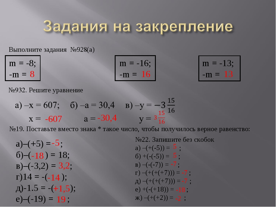 Выполните задания №928(а) m = -8; m = -16; m = -13; -m =  -m =  -...
