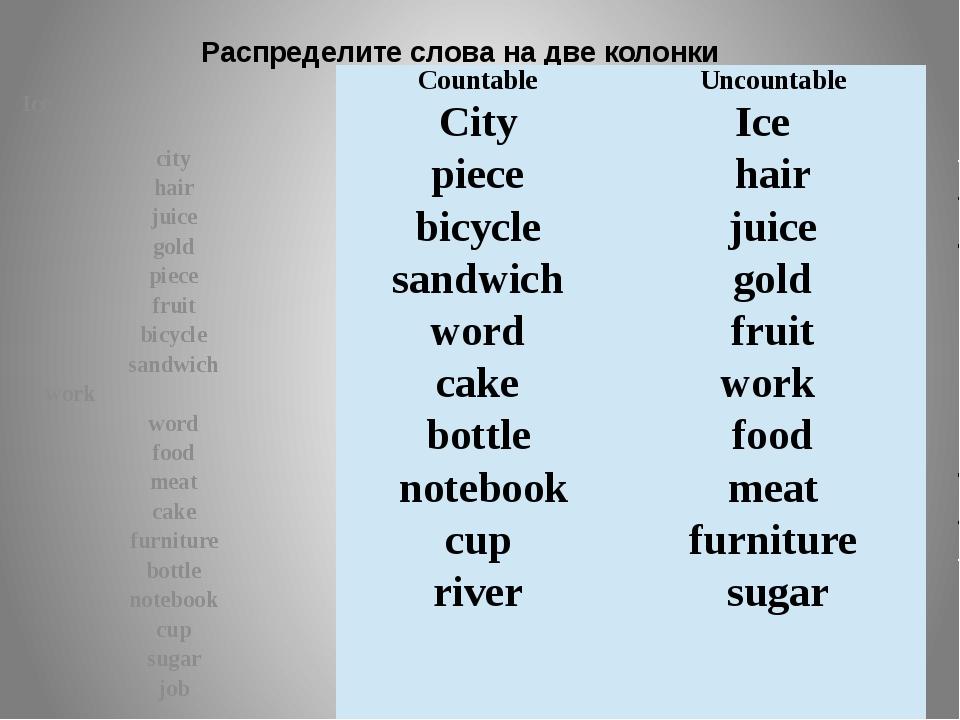 Распределите слова на две колонки Ice city hair juice gold piece fruit bicycl...
