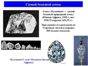 Алмаз «Куллинан» — самый большой природный алмаз. (Южная Африка, 1905 г., вес