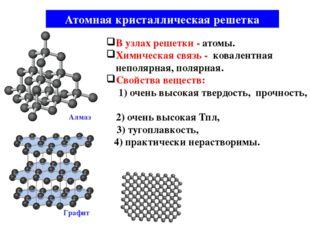 Атомная кристаллическая решетка В узлах решетки - атомы. Химическая связь - к