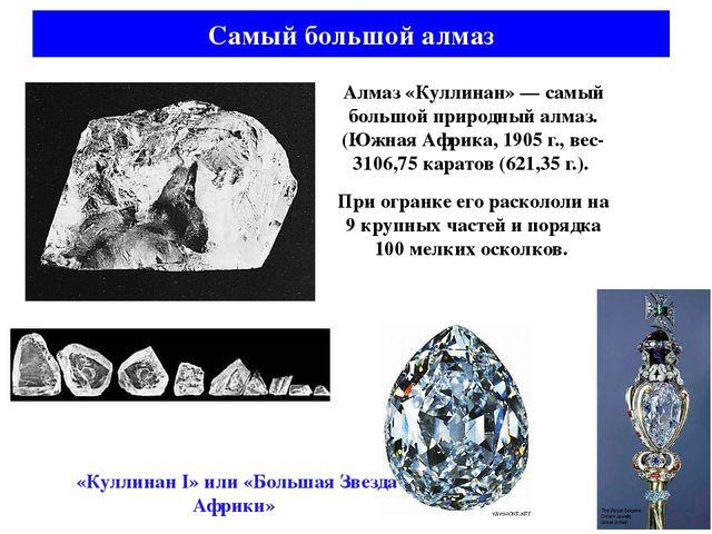Алмаз «Куллинан» — самый большой природный алмаз. (Южная Африка, 1905 г., вес...