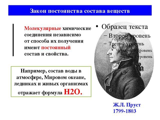 Закон постоянства состава веществ Ж.Л. Пруст 1799-1803 Молекулярные химически...