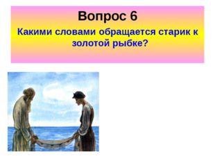 Вопрос 6 Какими словами обращается старик к золотой рыбке?