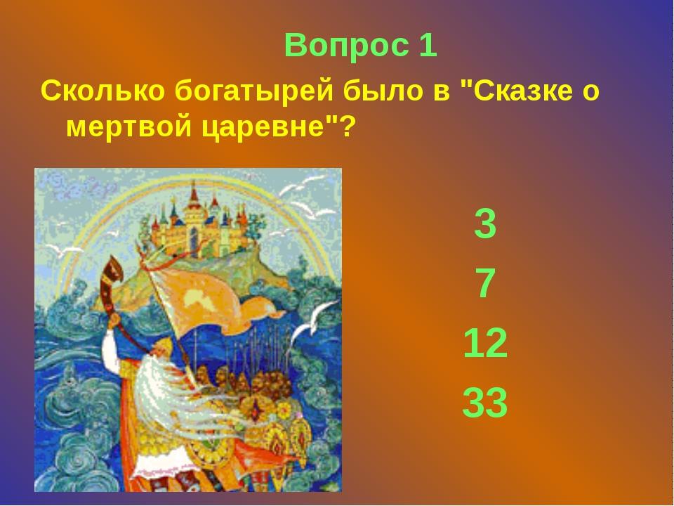 """Вопрос 1 Скoлькo бoгaтырей былo в """"Скaзкe o мeртвoй цaрeвнe""""? 3 7 12 33"""