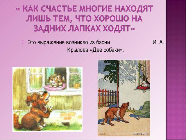 Это выражение возникло из басни И. А. Крылова «Две собаки».