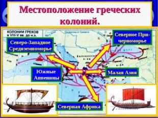 Местоположение греческих колоний. Малая Азия Северное При- черноморье Южные А