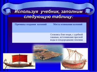 Причины создания колонийМеста основания колоний Селились близ моря, с удобн