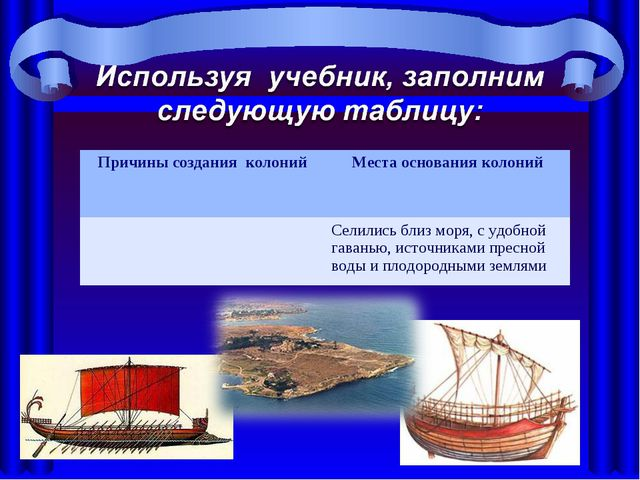Причины создания колонийМеста основания колоний Селились близ моря, с удобн...