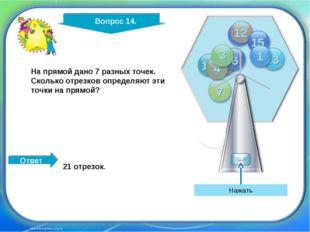 http://edu-teacherzv.ucoz.ru Ответ На прямой дано 7 разных точек. Сколько отр