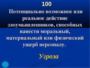 100 Потенциально возможное или реальное действие злоумышленников, способных