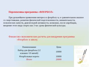 Перспективы программы «ФЛОРБОЛ» При дальнейшем проявлении интереса к флорболу