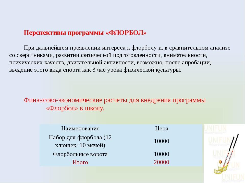 Перспективы программы «ФЛОРБОЛ» При дальнейшем проявлении интереса к флорболу...
