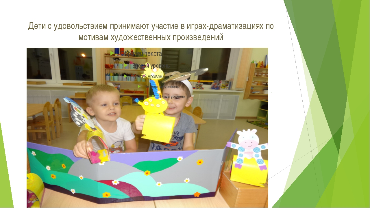 Дети с удовольствием принимают участие в играх-драматизациях по мотивам худож...