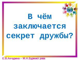 В чём заключается секрет дружбы? Е.В.Акчурина – М.Н.Бурмистрова