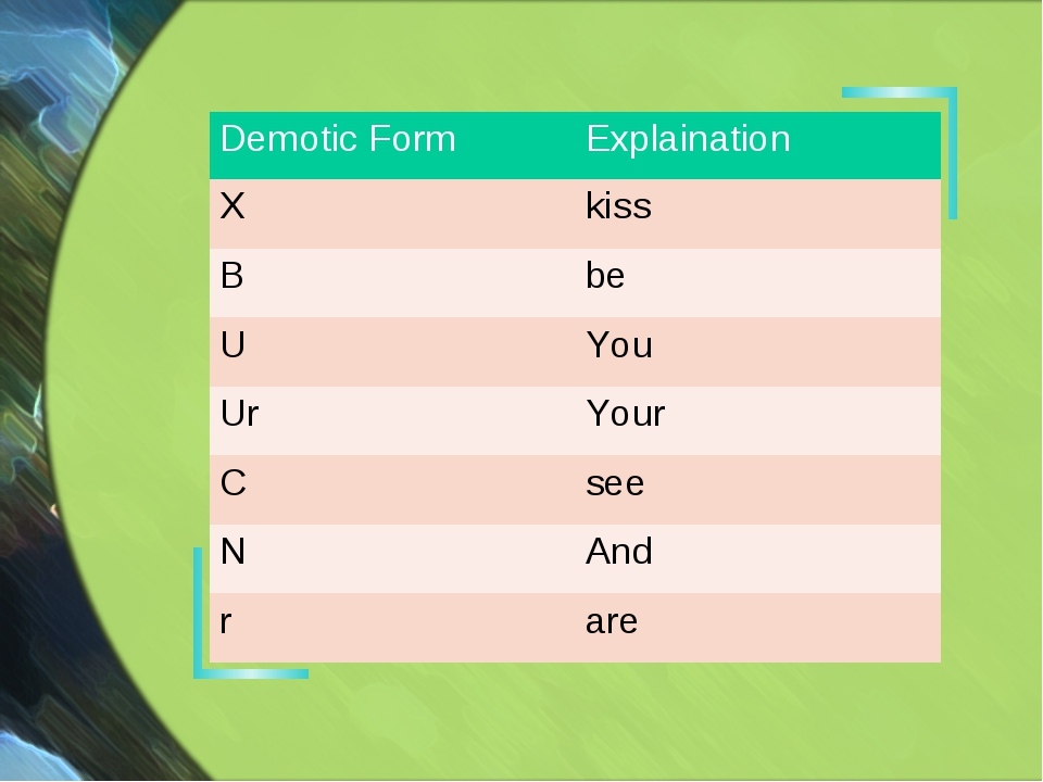 Demotic Form	Explaination X	kiss B	be U	You Ur	Your С 	see N	And r	are
