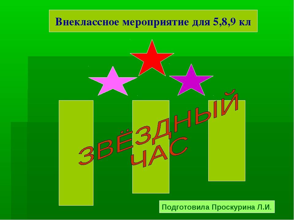 Внеклассное мероприятие для 5,8,9 кл Подготовила Проскурина Л.И.