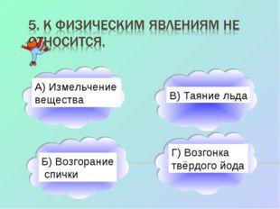 А) Измельчение вещества Б) Возгорание спички В) Таяние льда Г) Возгонка твёрд