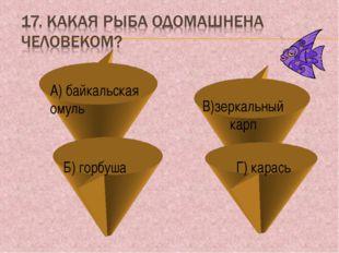 А) байкальская омуль Б) горбуша Г) карась В)зеркальный карп