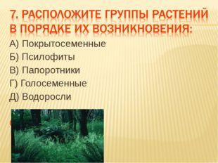 А) Покрытосеменные Б) Псилофиты В) Папоротники Г) Голосеменные Д) Водоросли О