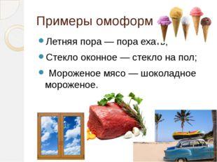 Примеры омоформ Летняя пора — пора ехать; Стекло оконное — стекло на пол; Мор