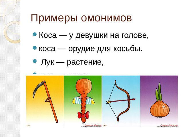 Примеры омонимов Коса — у девушки на голове, коса — орудие для косьбы. Лук —...