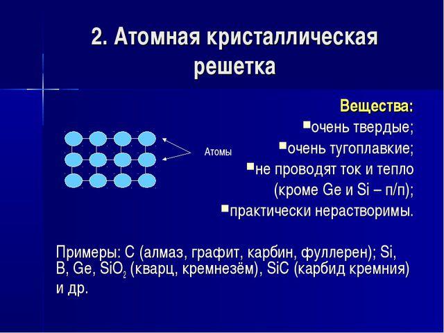 2. Атомная кристаллическая решетка Вещества: очень твердые; очень тугоплавкие...