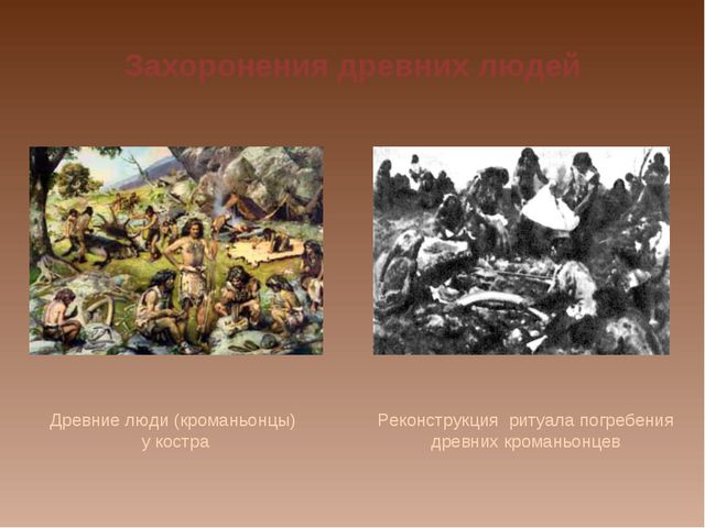 Захоронения древних людей Древние люди (кроманьонцы) у костра Реконструкция р...