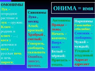 ОНИМА = имя Антонимы Правда – ложь; Начать – кончить; Вверх – вниз; Белый – ч