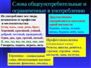 Слова общеупотребительные и ограниченные в употреблении Их употребляют все лю