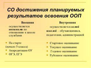 Внешняя осуществляется внешними по отношению к школе службами На старте (нач