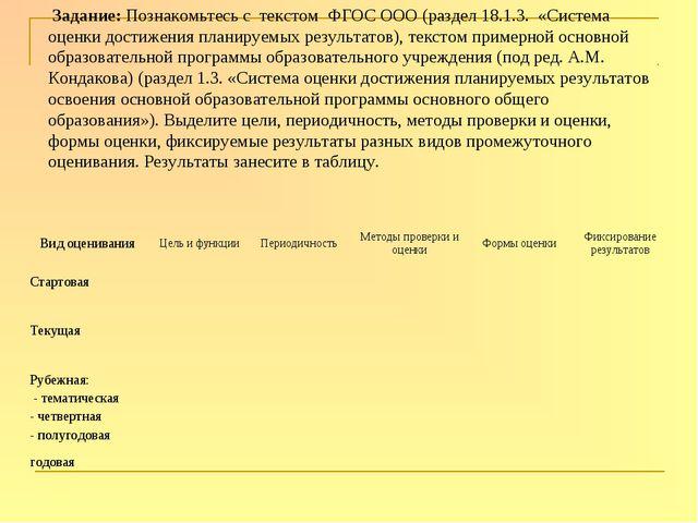 Задание: Познакомьтесь с текстом ФГОС ООО (раздел 18.1.3. «Система оценки до...