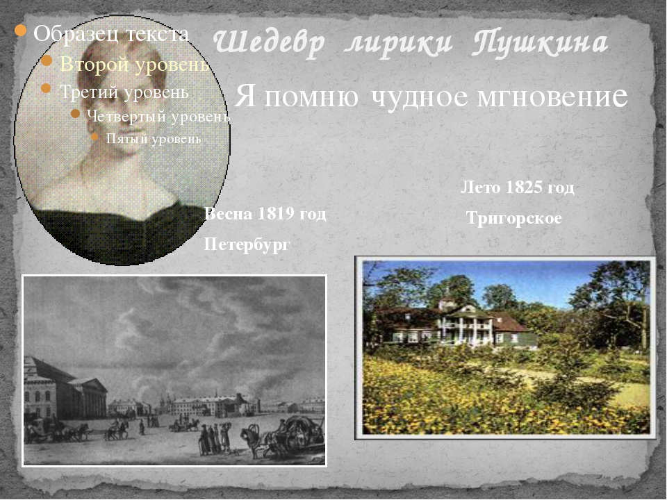 Шедевр лирики Пушкина Я помню чудное мгновение Весна 1819 год Петербург Лето...