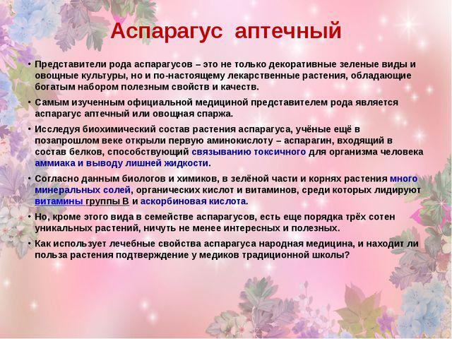 Аспарагус аптечный Представители рода аспарагусов – это не только декоративны...